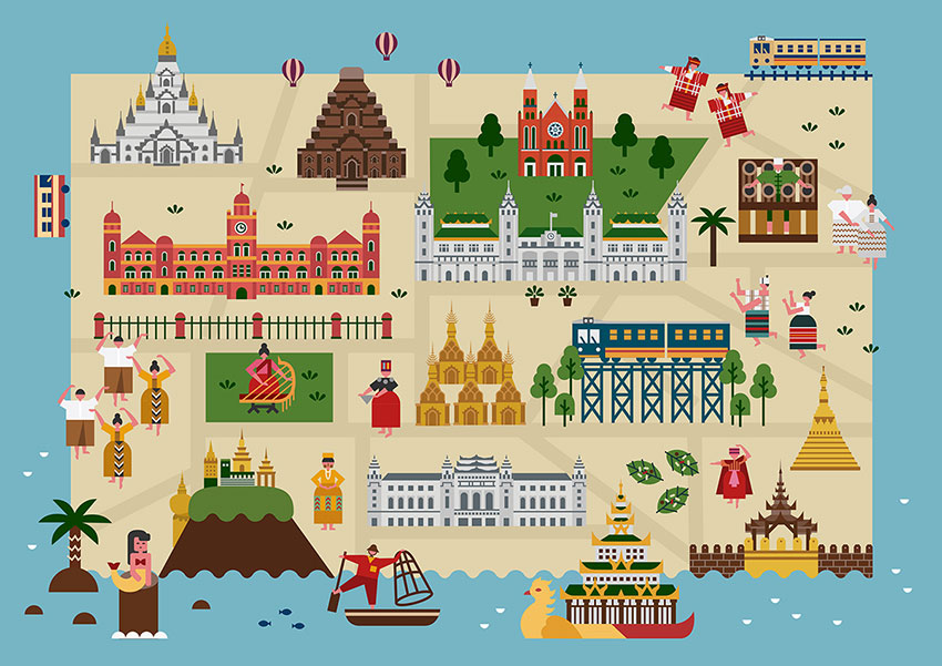Myanmar Map Illustration for Samsung