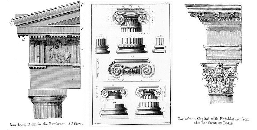 Doric Iconic and Corinthian column styles