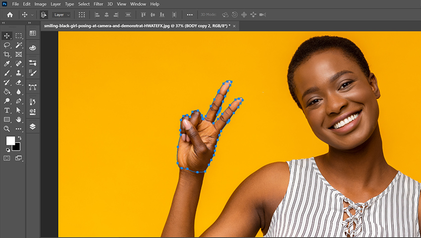 Use the Pen Tool to carefully cut out your subjects hand