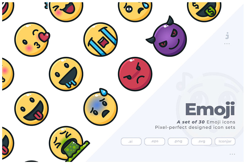 30 emoji icons Set of 30 Emoji Icons