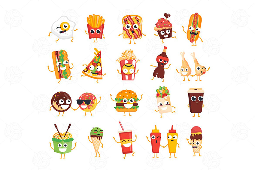 Fast Food vector chat icons