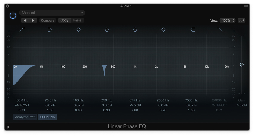 Applying surgical EQ with a Linear Phase EQ in Logic Pro X
