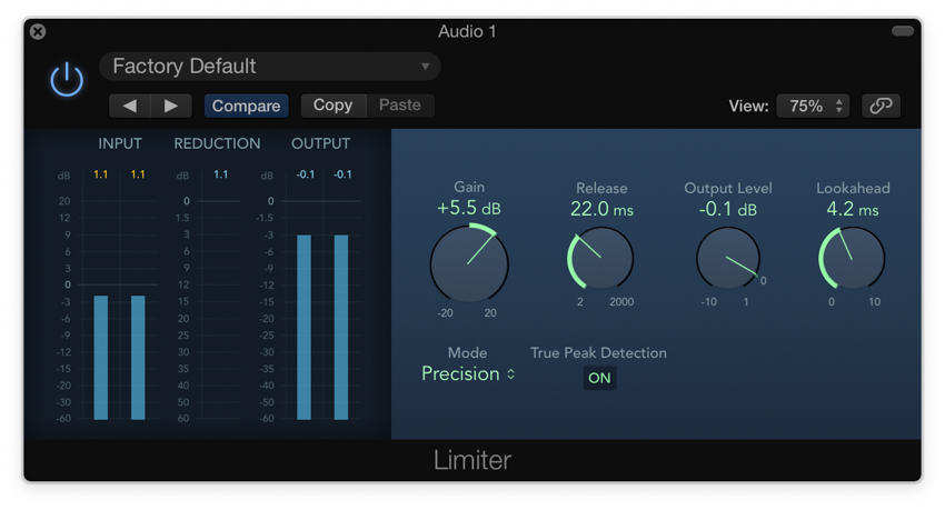 Applying a limiter in Logic Pro X