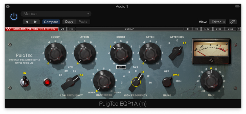 Boosting the top end with an analogue modelling EQ