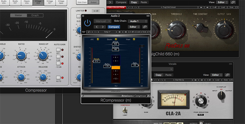 Compressing the guitar with a sidechain to the vocal