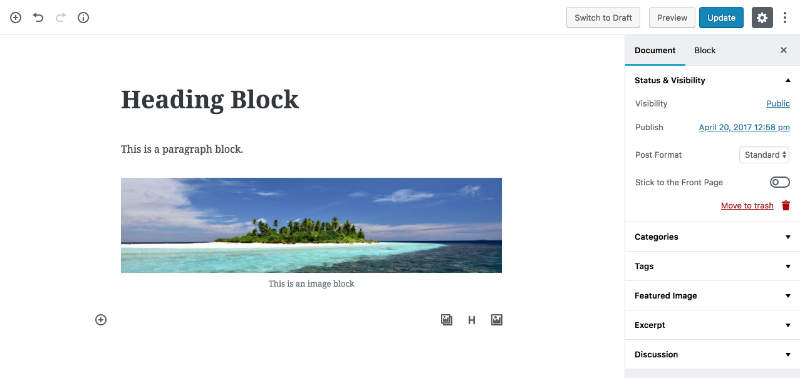 Heading block in WordPress Gutenberg
