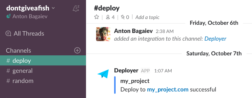 Viewing Deployer in Slack