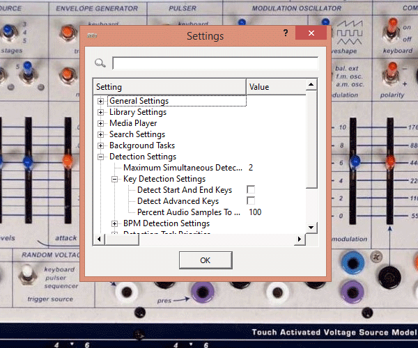 Rapid Evolution program settings window