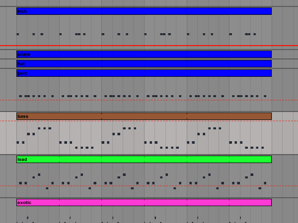 Arrangement view in Ableton