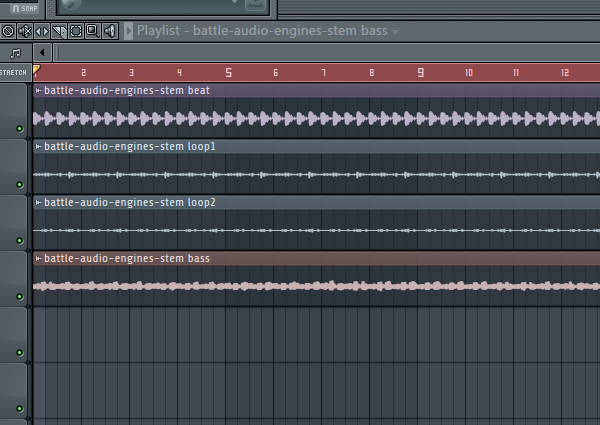 FL Studio showing the stems