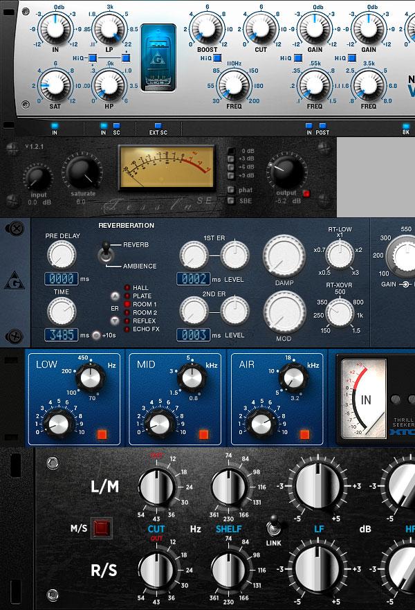 Variety of Sound plugins rack