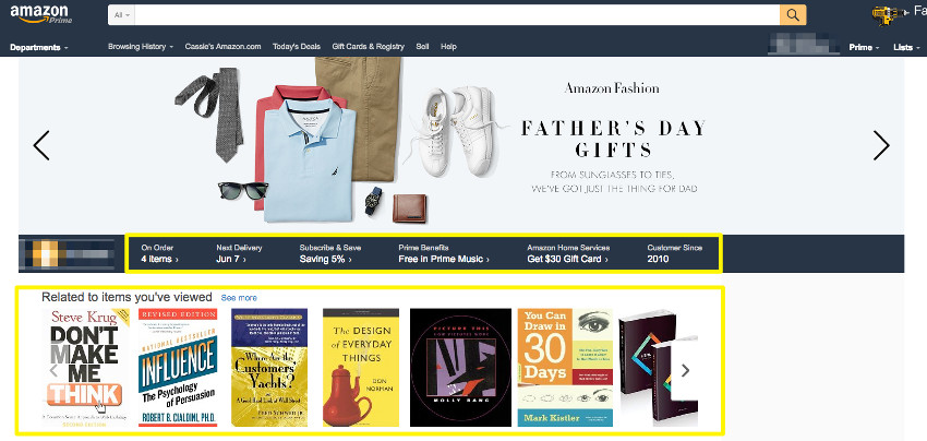Personalized Amazon Homepage