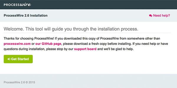 ProcessWire installation 1 - get started