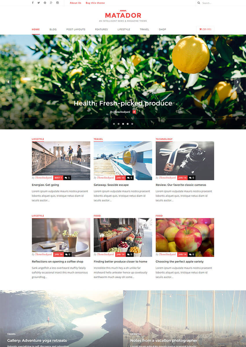 Matador - Responsive News Blog  Magazine Theme