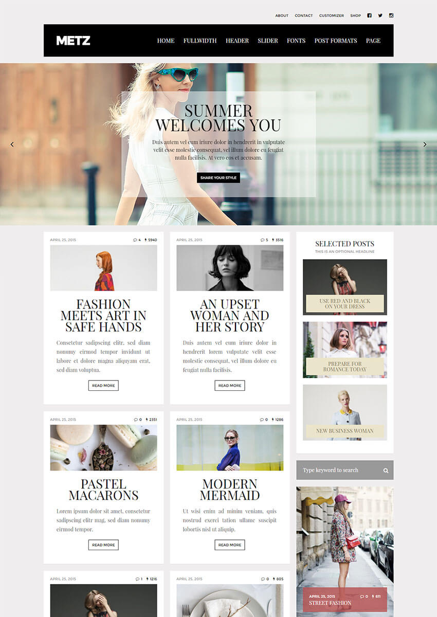Metz - A Fashion Editorial Magazine Theme
