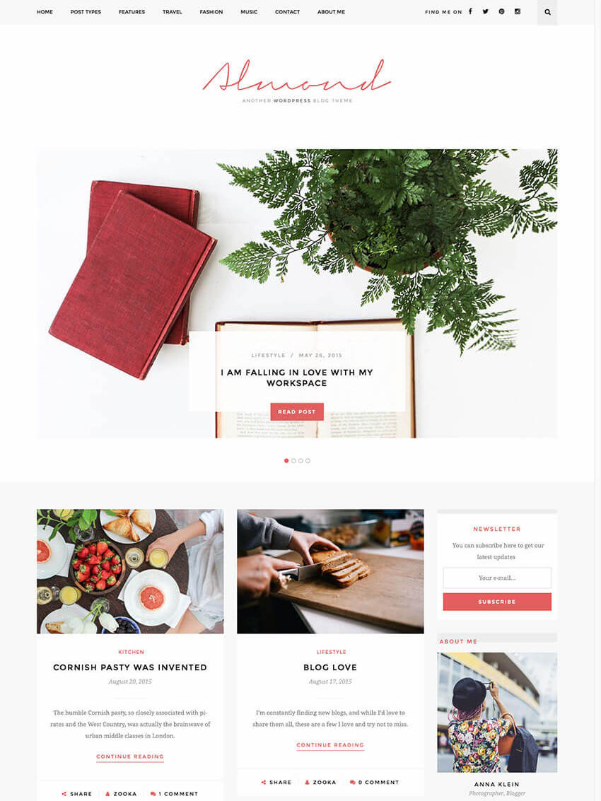 Almond Inspiring Blog WordPress Template