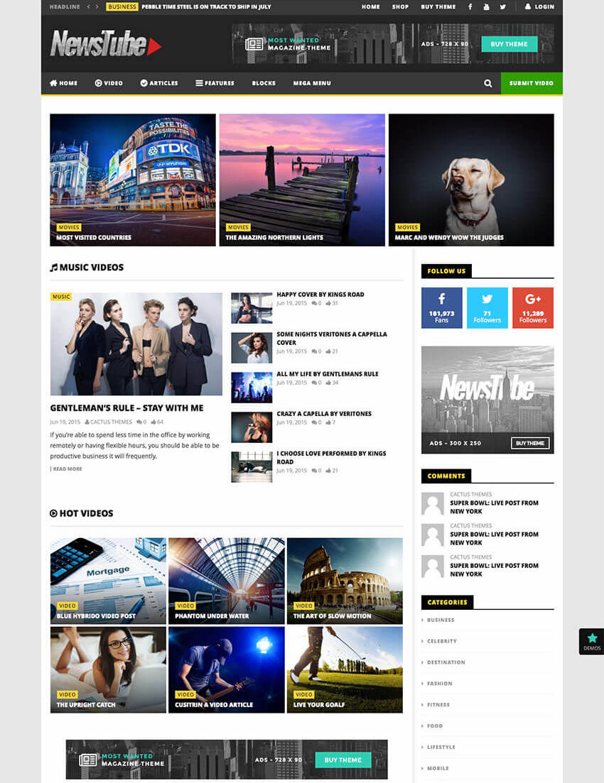 NewsTube - WP Magazine Blog  Video Theme