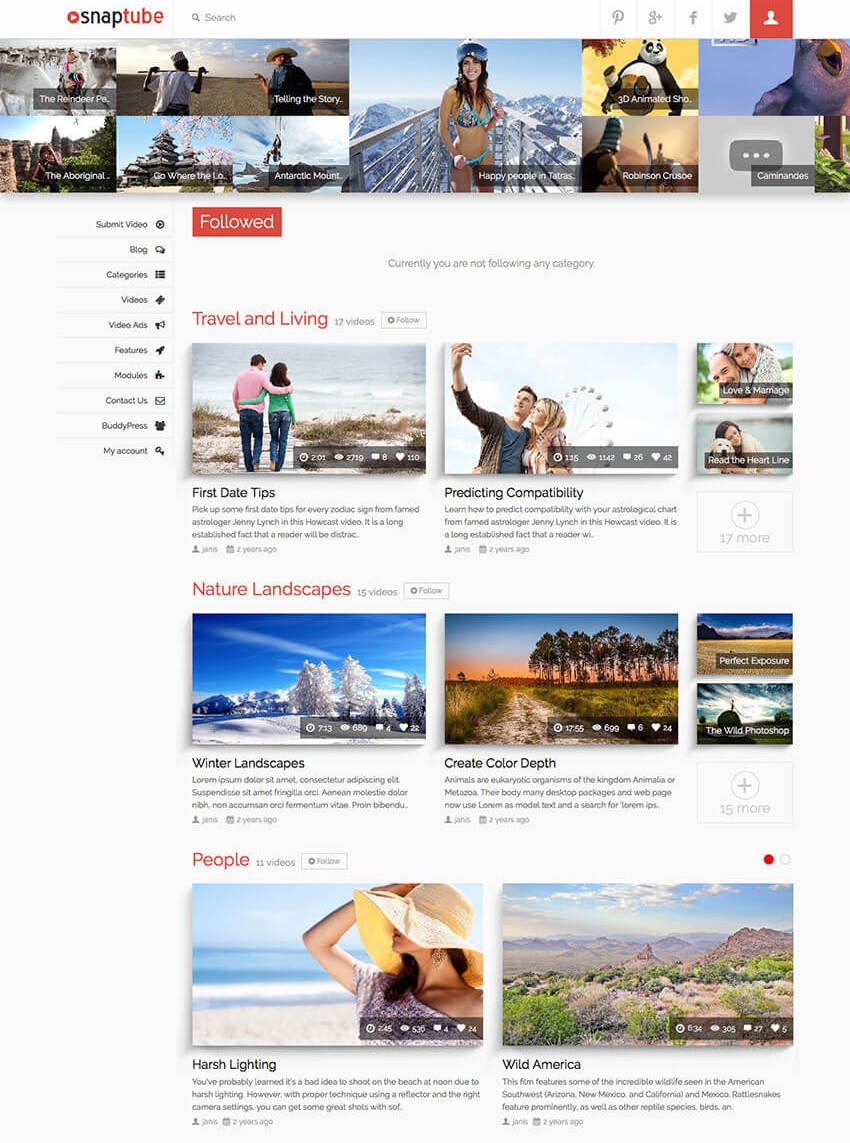 Snaptube - Premium WP Video Theme