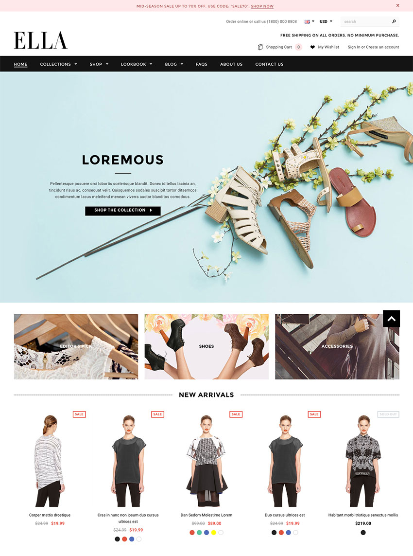 Ella Modern eCommerce Shopify Template 2016