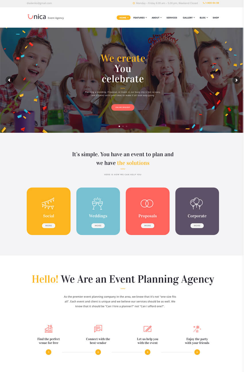 Unica Event Planning WordPress Agency Theme