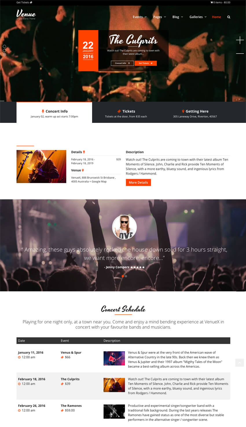 Venue X Simple Events WP Theme