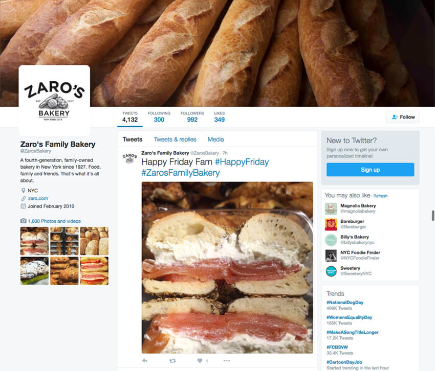 Zaros Bakery Twitter bio with elevator pitch