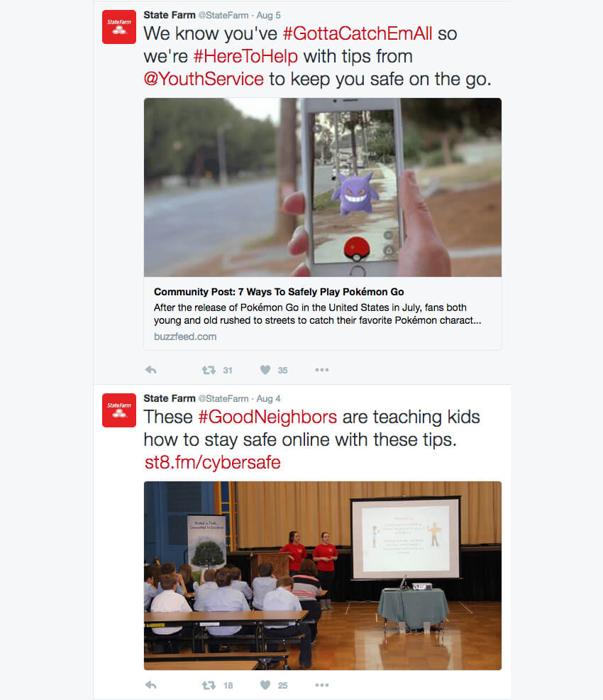 State Farm Hashtag examples