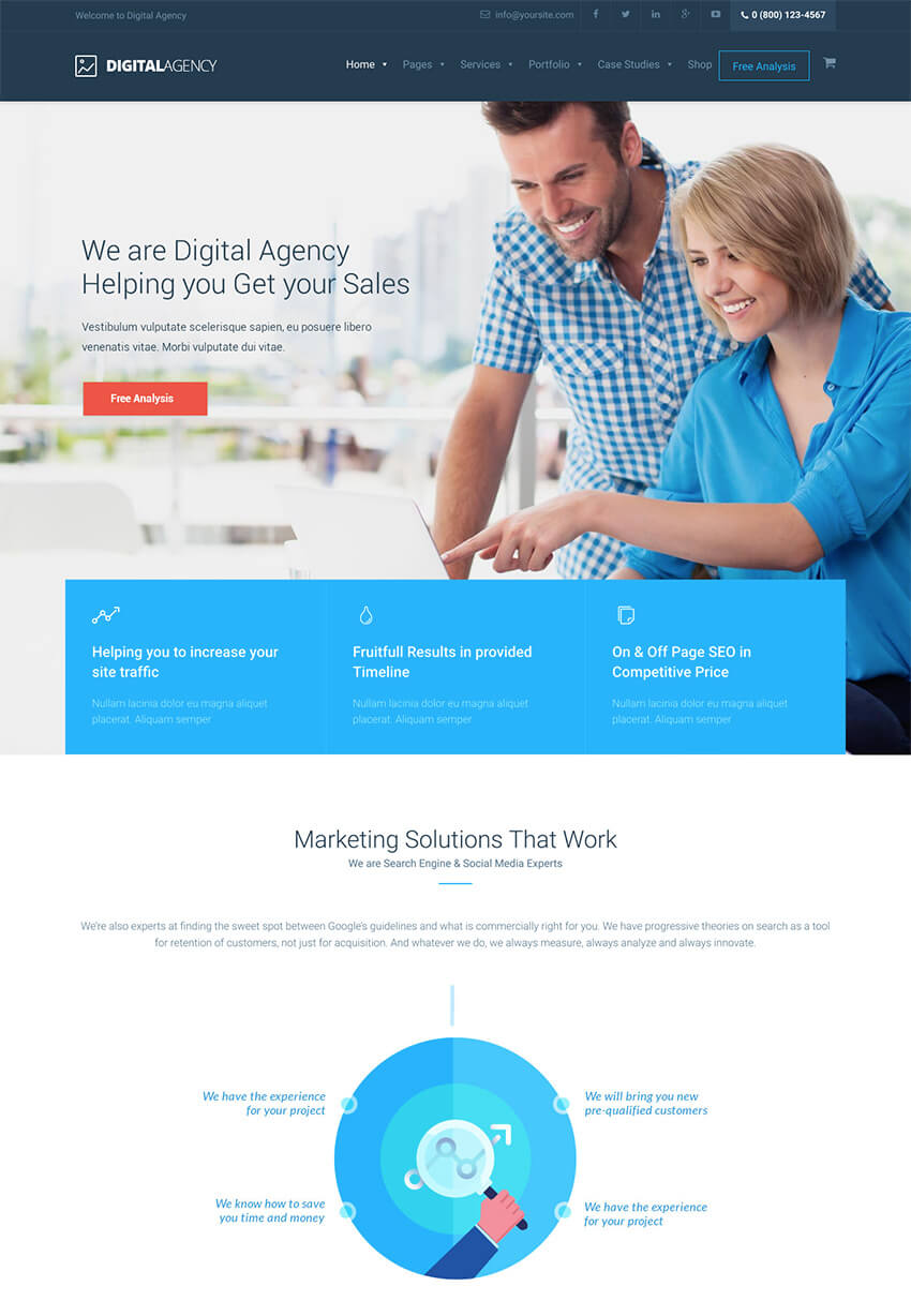 Digital Agency Minimalist Marketing WP Theme
