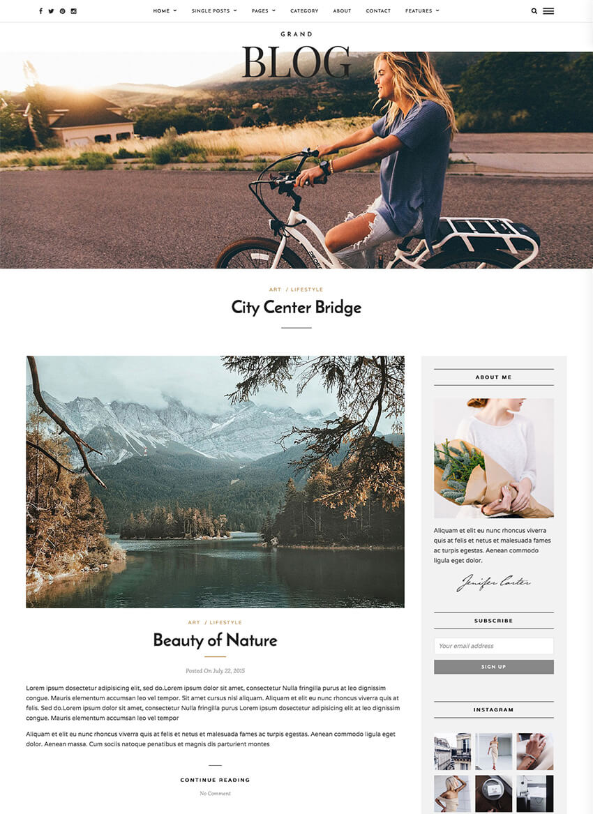 Grand Blog Minimal WordPress Theme for Bloggers