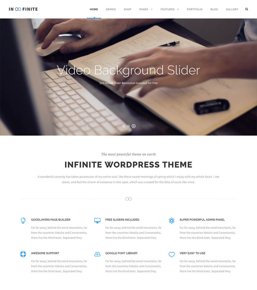 Infinite Mininal Multipurpose WordPress Theme