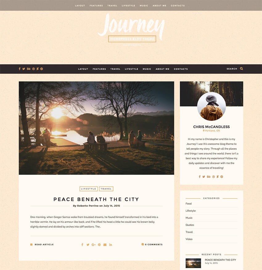 Journey Minimal Simple Blog Theme
