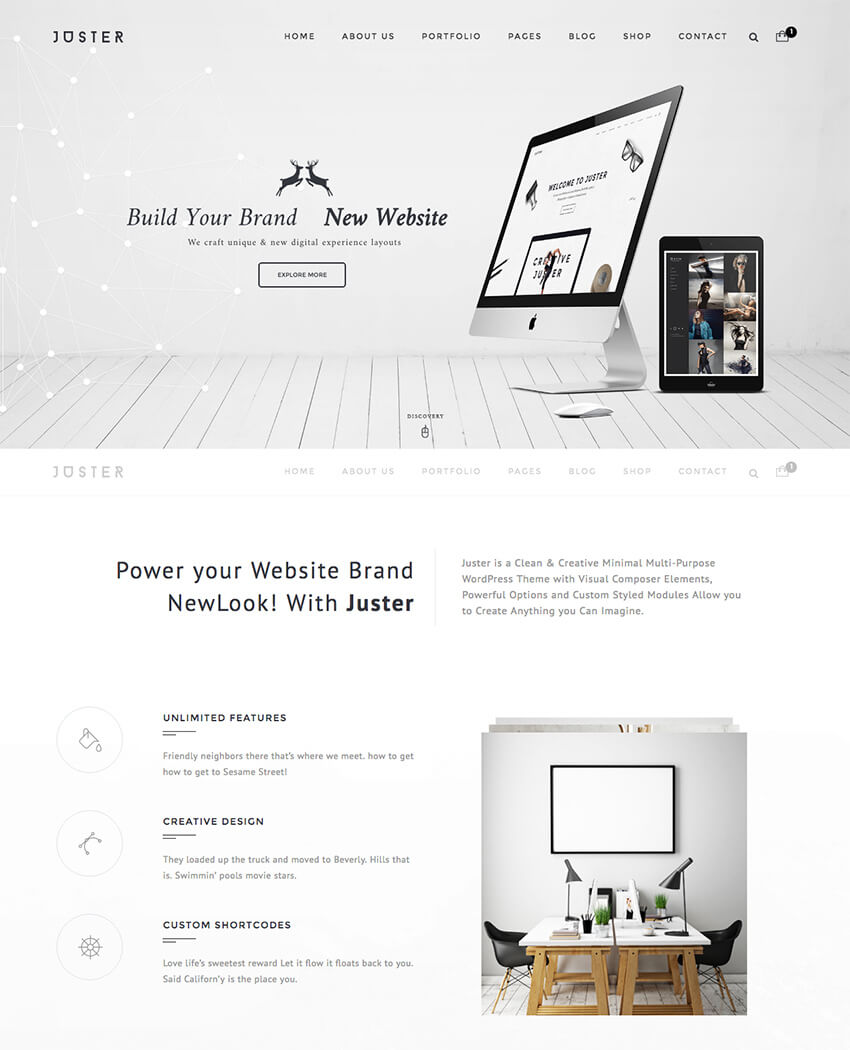 Juster Clean Modern WordPress Theme Design