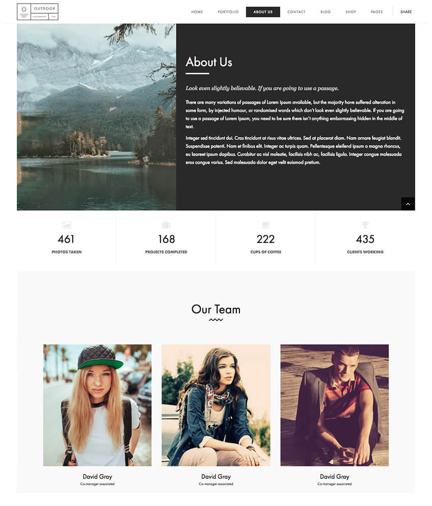 Outdoor Minimal Creative Portfolio WP Theme