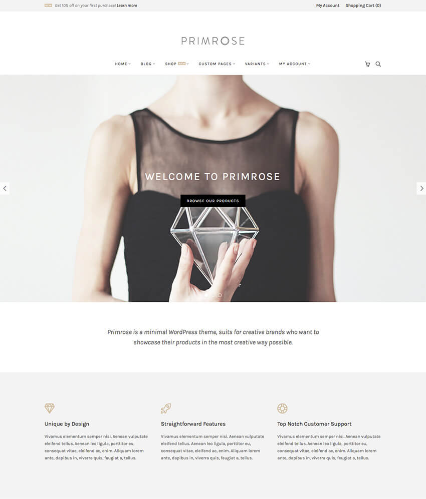 Primrose Minimalist WooCommerce WordPress Theme