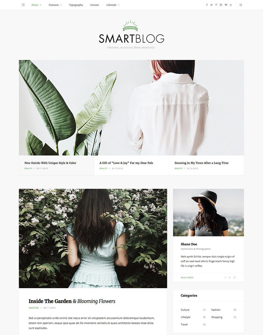 SmartBlog Minimalist WordPress Blog Theme