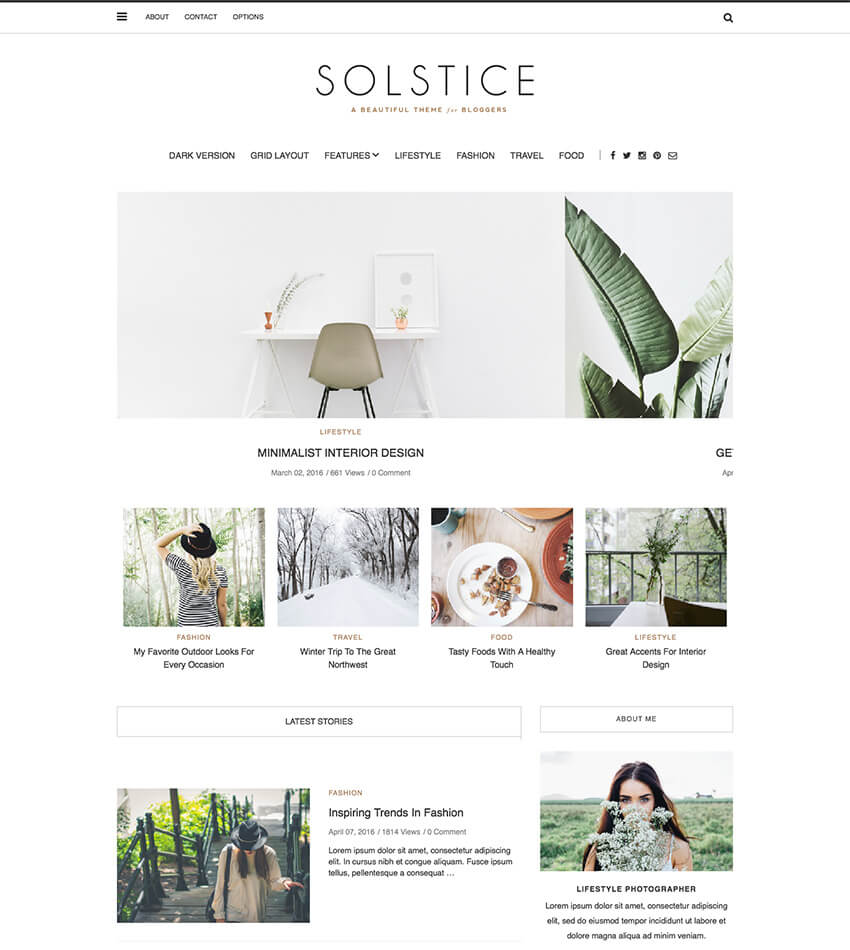 Solstice Minimal Personal WP Blog Theme