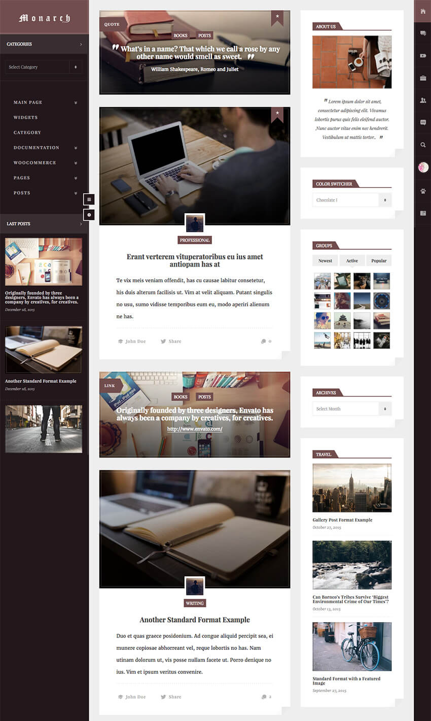 Monarch WordPress BuddyPress Community Theme
