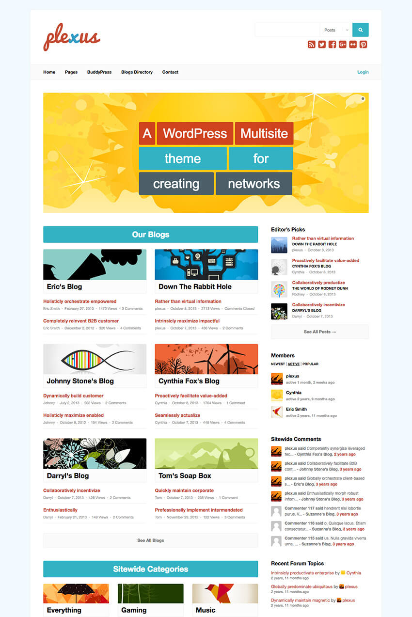 Plexus Multisite Network WP BuddyPress Theme