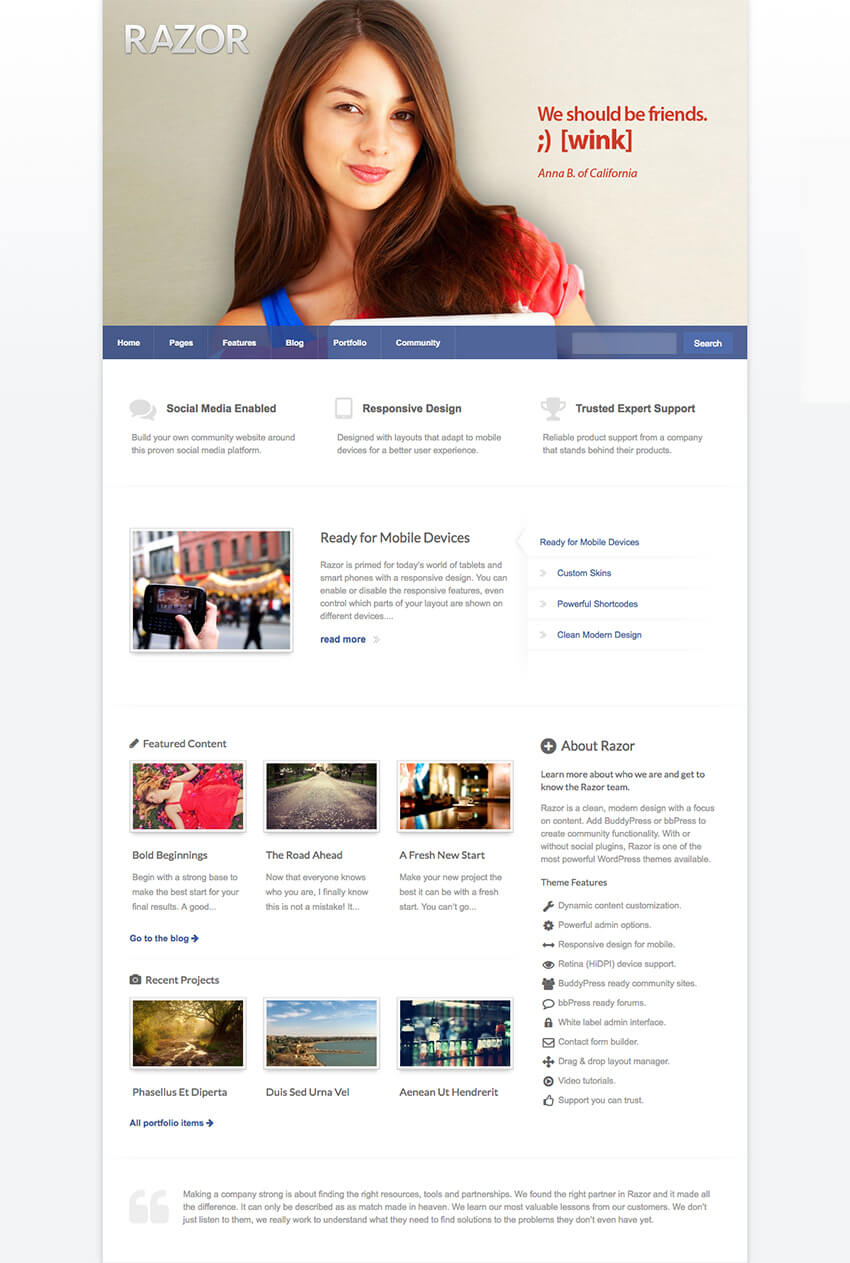 Razor Social Community WordPress BuddyPress Theme