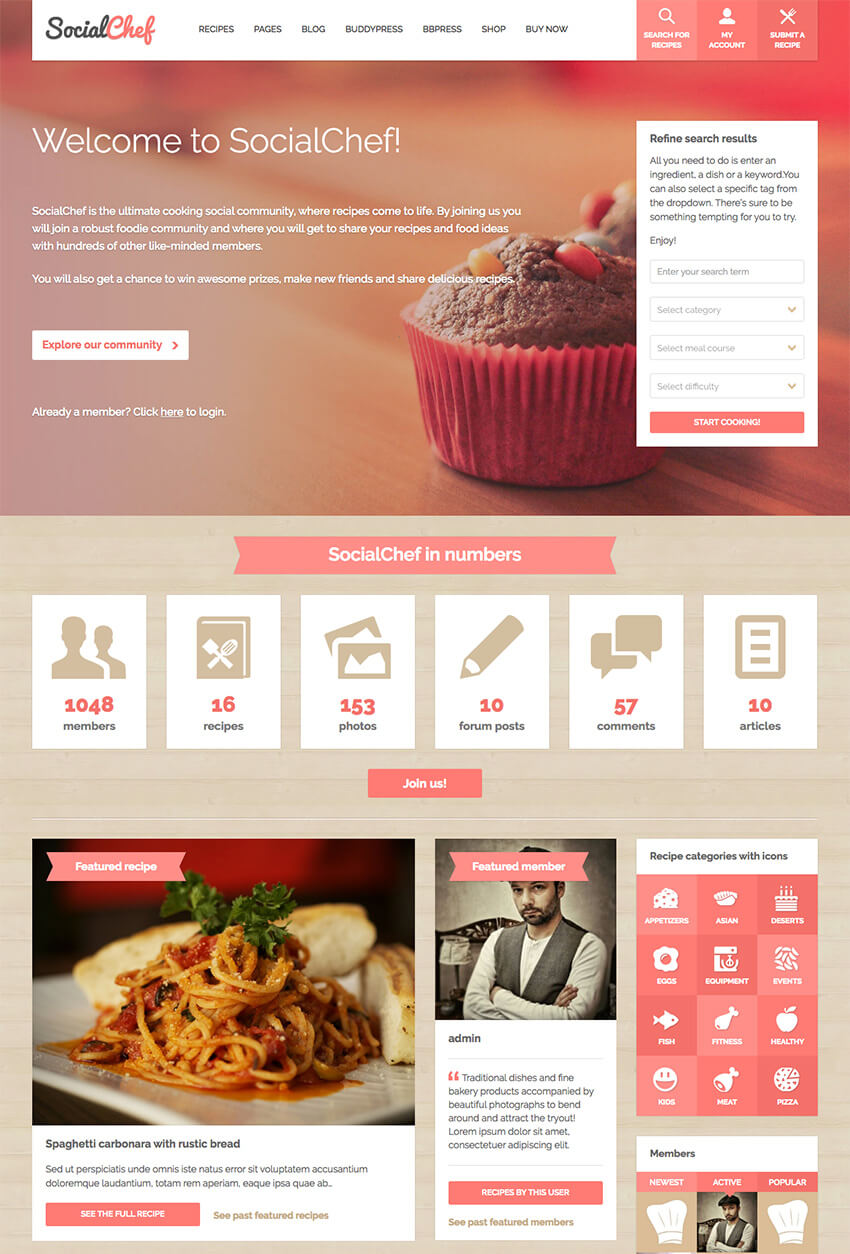 SocialChef Social Community WordPress Theme