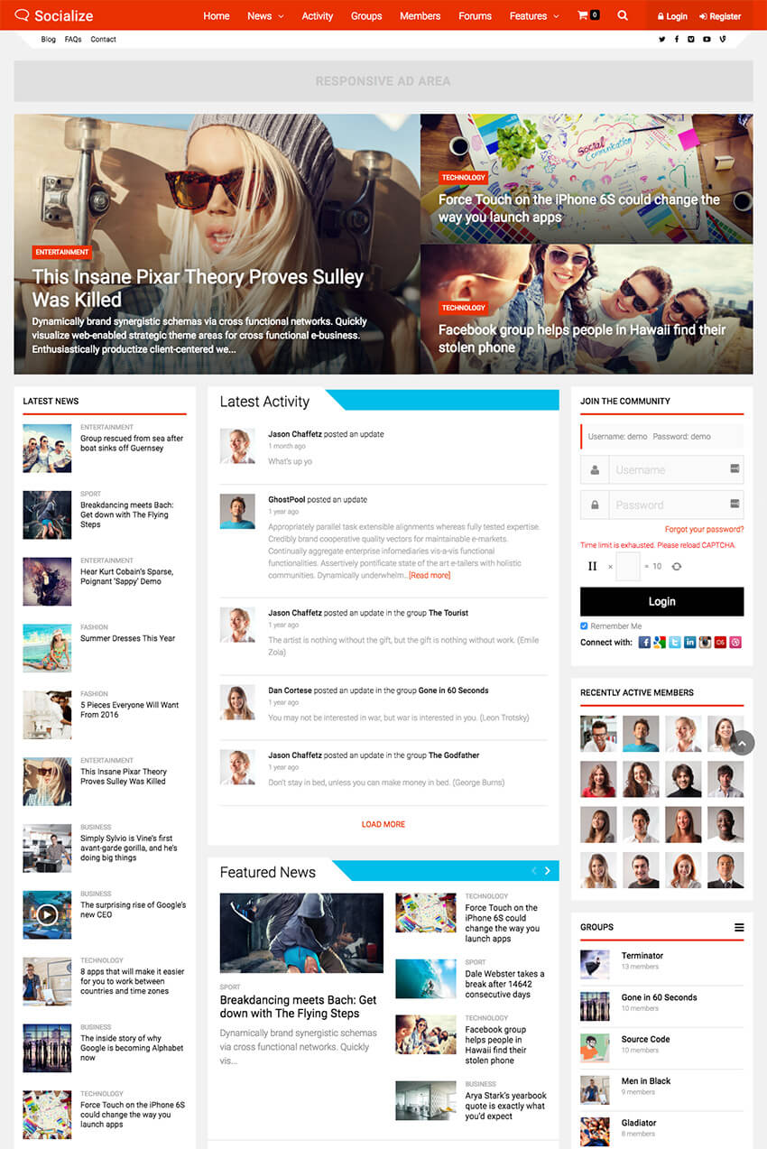 Socialize Social Network WP BuddyPress Theme