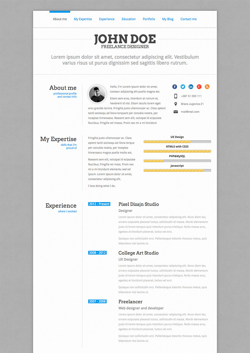 perfectcv wordpress cv resume theme