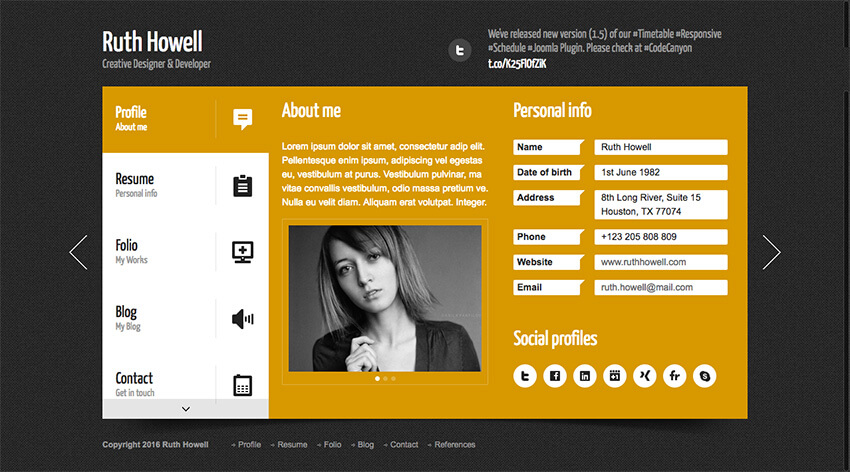 wordpress resume cv template page prestige theme plugin