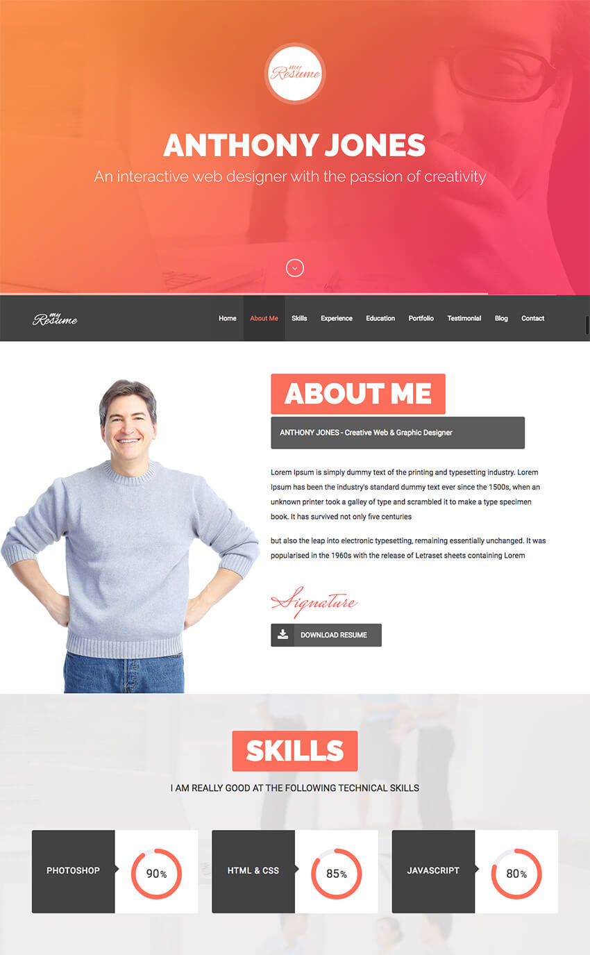 ResumeX Multipurpose WordPress Resume Folio Theme  Wordpress Resume Themes