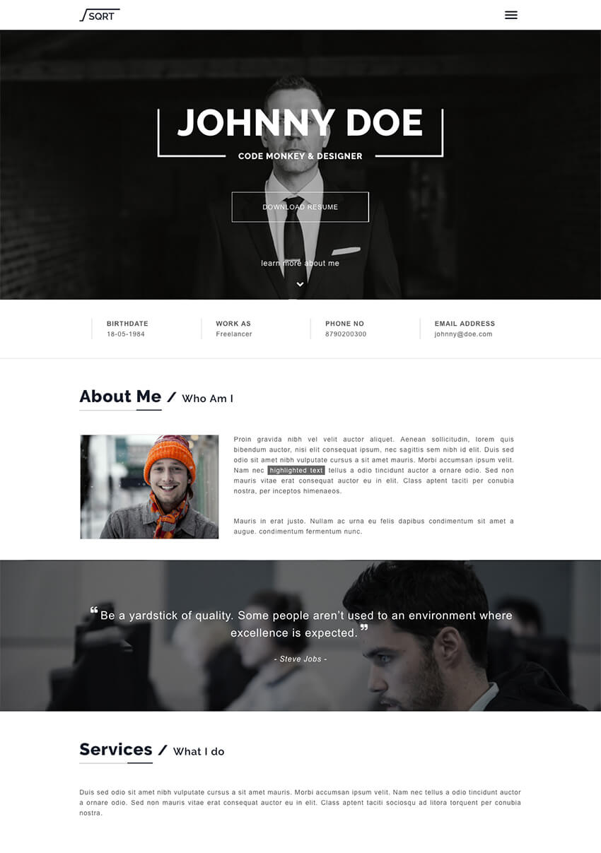 Squareroot Personal WordPress Resume CV Theme