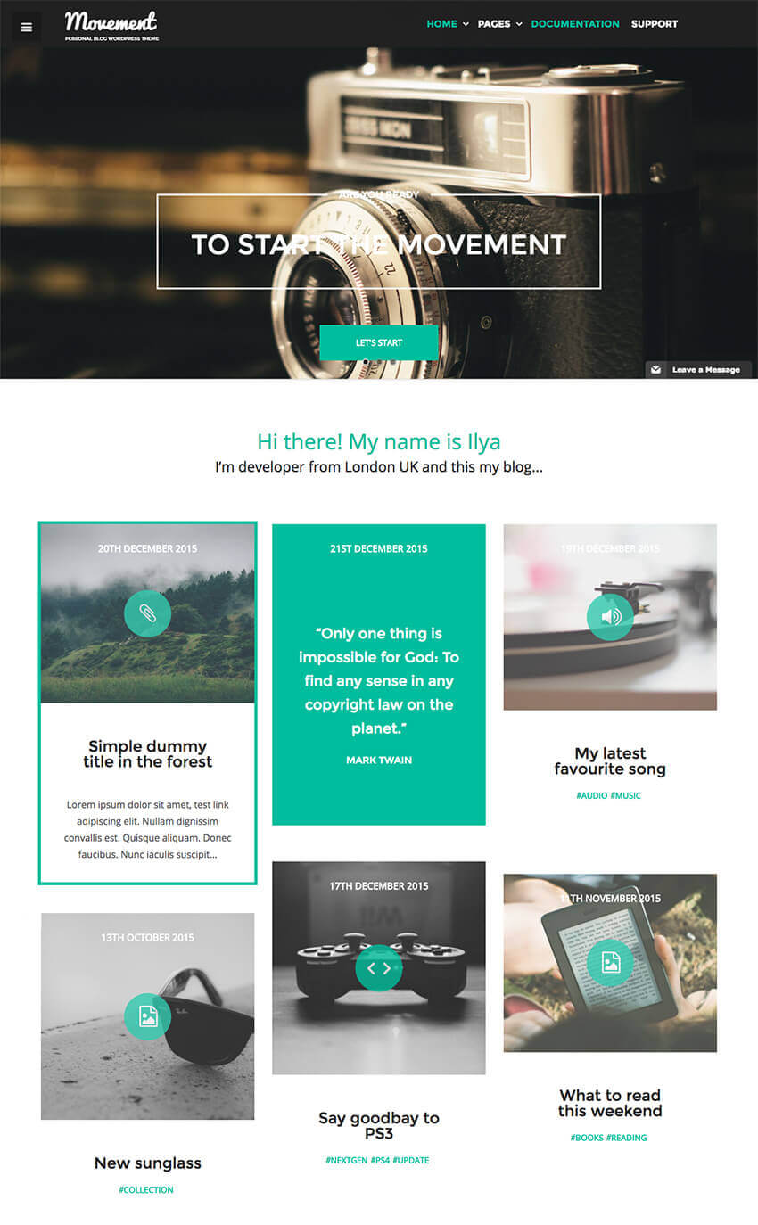 Movement Personal Blog Writer WordPress Theme