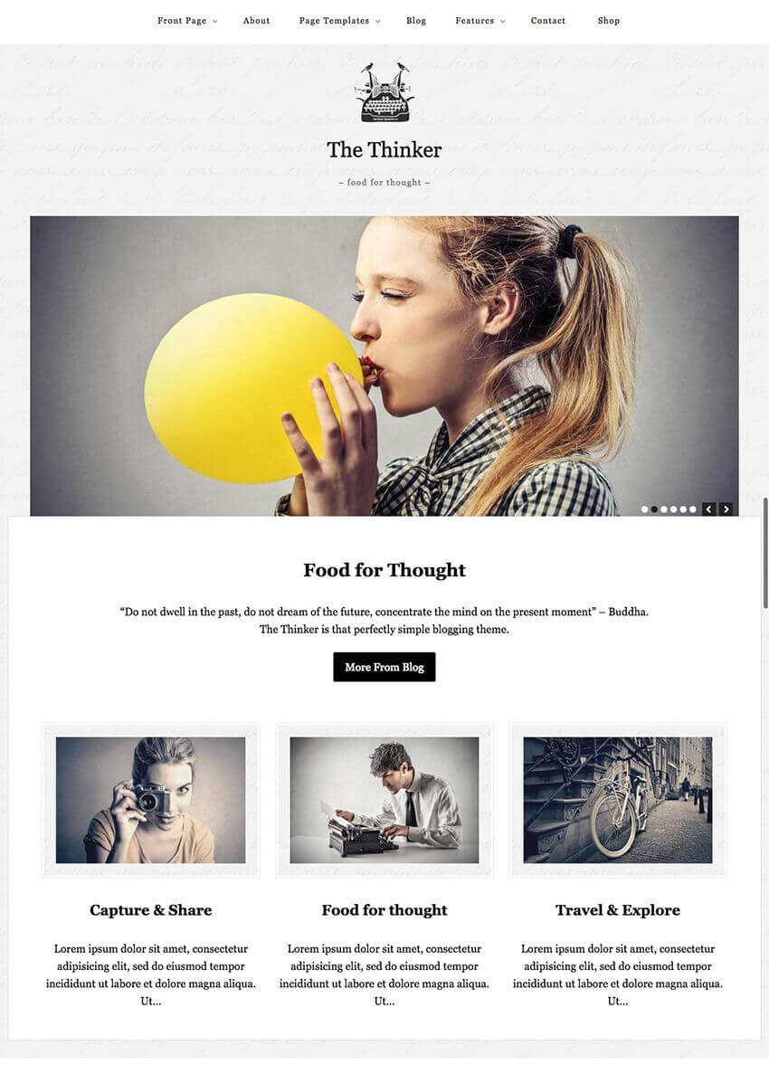 The Thinker Simple Blog Writer WordPress Theme
