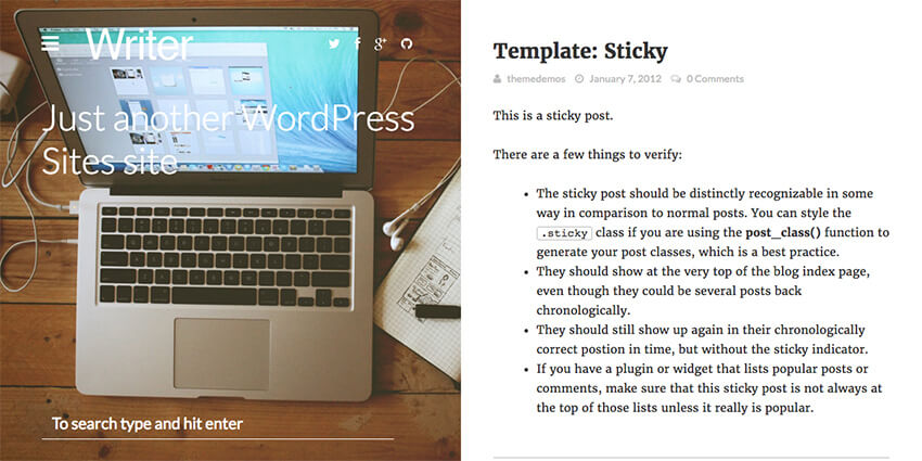 Writer Professional WP Author Blog Theme