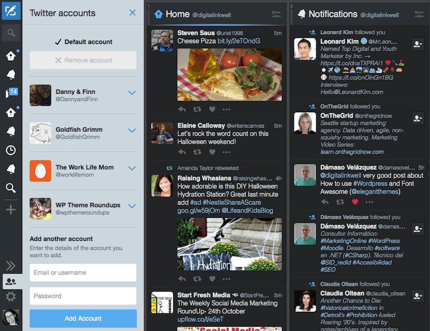 Adding an account to TweetDeck