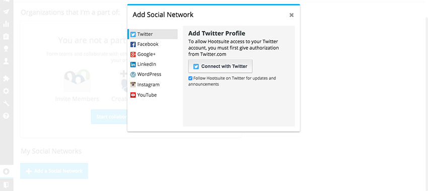 Hoosuite works with all the popular social networks like twitter